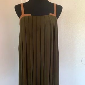 Flowy top belted olive dress